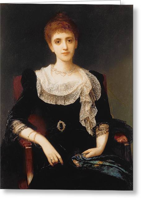 Black Scarf Greeting Cards - Portrait of a Lady Greeting Card by Charles Edward Halle