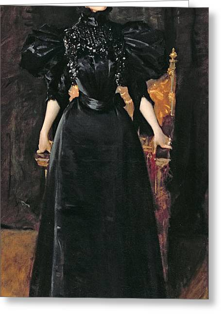 Black Widow Paintings Greeting Cards - Portrait of a Lady in Black Greeting Card by William Merritt Chase