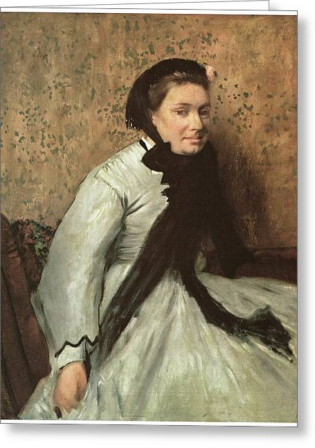 Portrait Of A Lady Greeting Cards - Portrait of a Lady in Gray Greeting Card by Edgar Degas