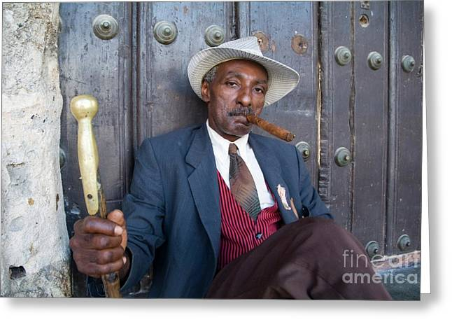Sami Sarkis Photographs Greeting Cards - Portrait of a man wearing a 1930s-style suit and smoking a cigar in Havana Greeting Card by Sami Sarkis
