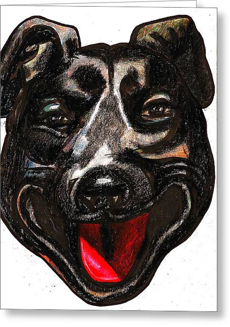 Family Walks Drawings Greeting Cards - Portrait Of A Pooch Greeting Card by Al Goldfarb