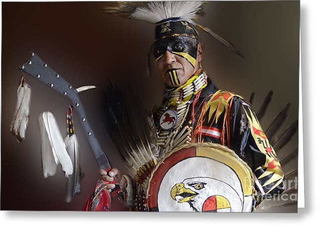 Fancy-dancer Greeting Cards - Pow Wow Portrait Of A Proud Man 2 Greeting Card by Bob Christopher