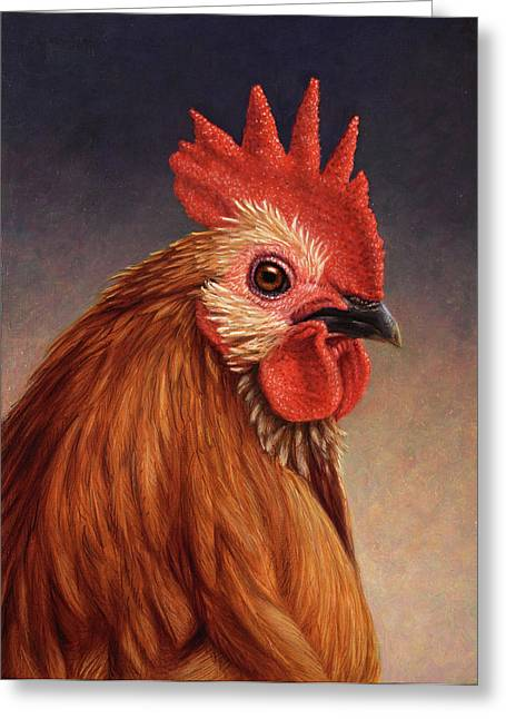 Cocks Greeting Cards - Portrait of a Rooster Greeting Card by James W Johnson