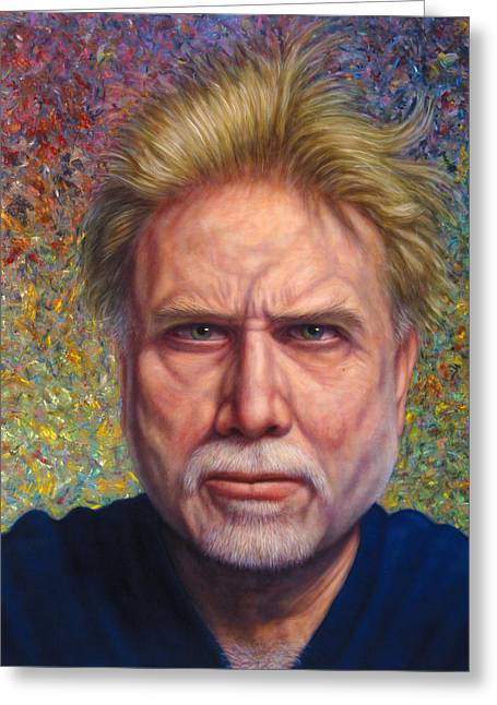 Green Eyes Greeting Cards - Portrait of a Serious Artist Greeting Card by James W Johnson