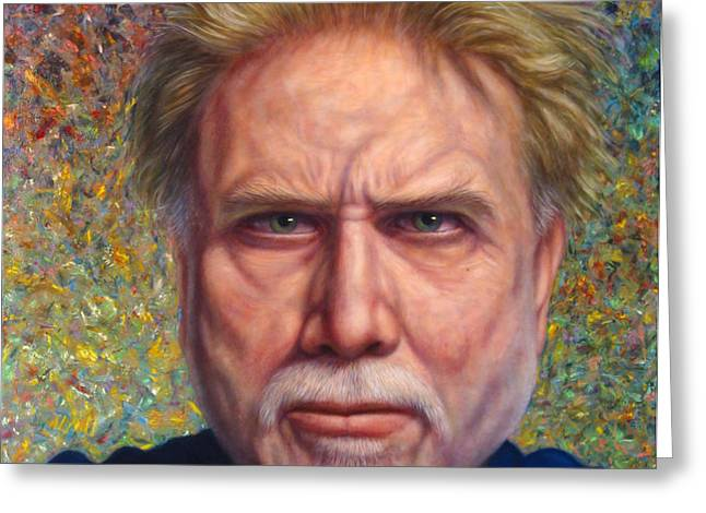 Portrait of a Serious Artist Greeting Card by James W Johnson