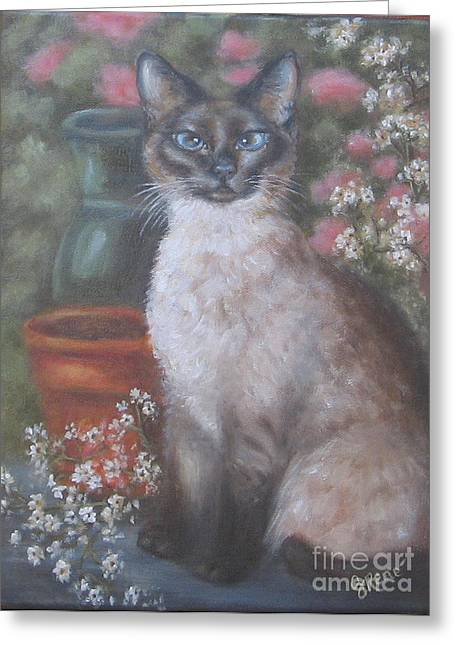 Siamese Cat Print Greeting Cards - Portrait of a Siamese Cat Greeting Card by Gayle Rene