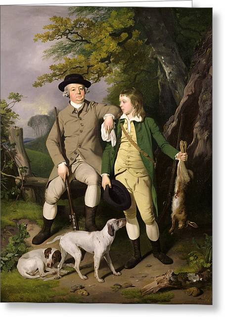 Full-length Portrait Paintings Greeting Cards - Portrait of a Sportsman with his Son Greeting Card by Francis Wheatley