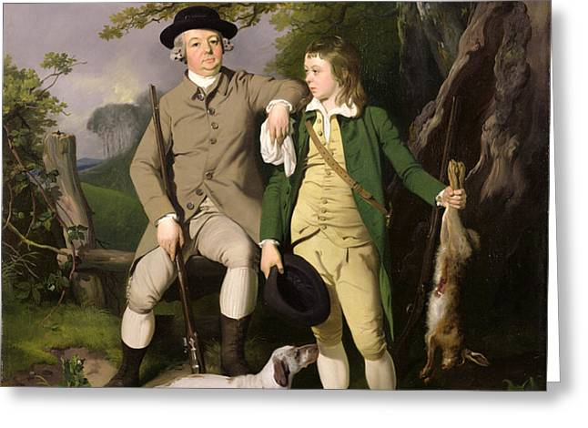 Portrait of a Sportsman with his Son Greeting Card by Francis Wheatley