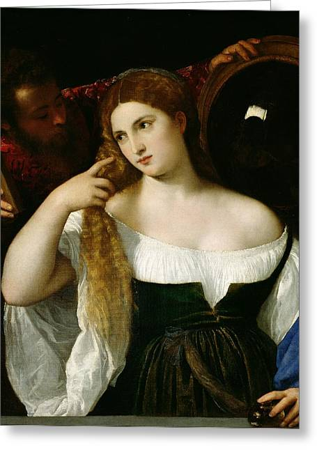Blond Hair Greeting Cards - Portrait of a Woman at her Toilet Greeting Card by Titian