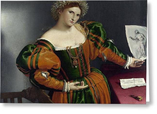 Lucretia Greeting Cards - Portrait of a Woman Inspired by Lucretia Greeting Card by Lorenzo Lotto