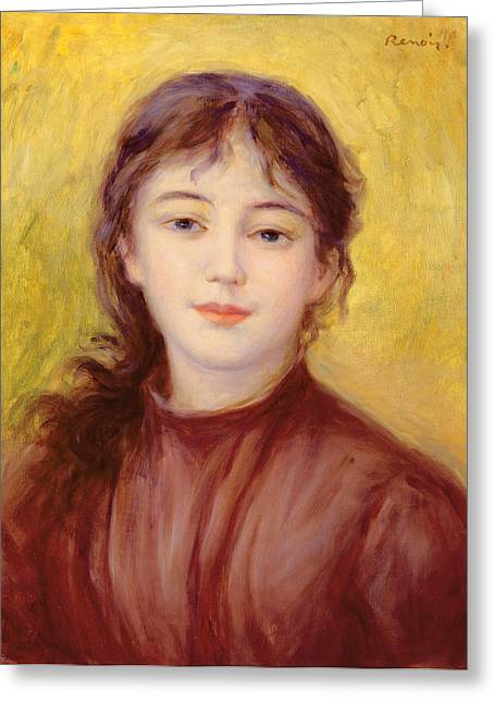 Portraits Greeting Cards - Portrait of a Woman Greeting Card by Pierre Auguste Renoir