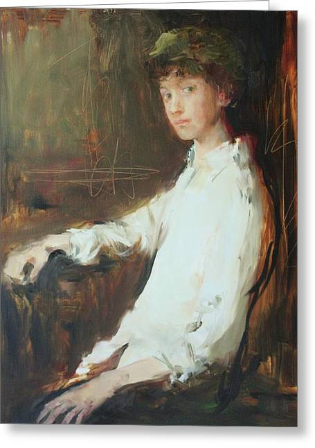 Portrait Of A Young Boy Greeting Cards - Portrait of a Young Boy Greeting Card by Murat Kaboulov