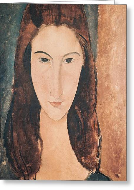 Brown Hair Greeting Cards - Portrait of a Young Girl Greeting Card by Amedeo Modigliani