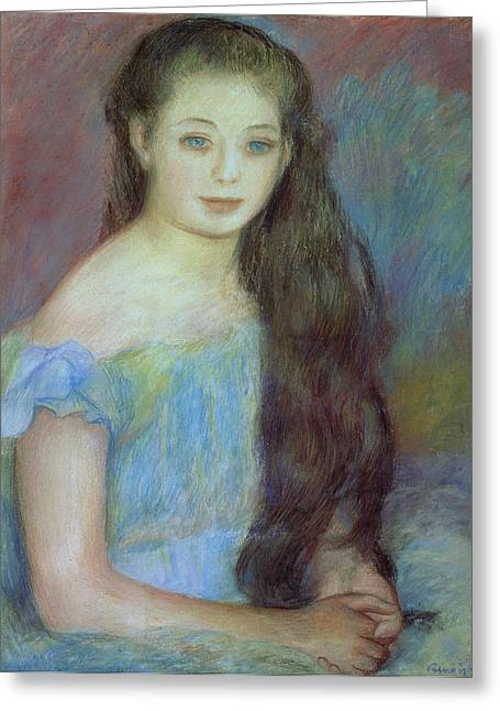 Portrait With Dress Greeting Cards - Portrait of a Young Girl with Blue Eyes Greeting Card by Pierre Auguste Renoir