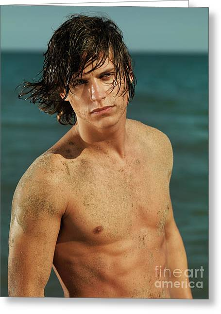 Wet Hair Greeting Cards - Portrait of a Young Man on a Sea Shore Greeting Card by Oleksiy Maksymenko