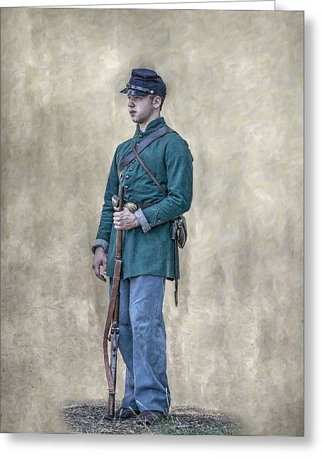 Sharpshooter Greeting Cards - Portrait of a Young Soldier of Berdans Sharpshooters Greeting Card by Randy Steele