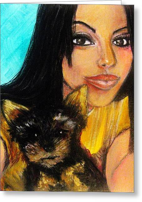 Puppies Pastels Greeting Cards - Portrait of a young woman and her puppy 2 Greeting Card by Amanda Dinan