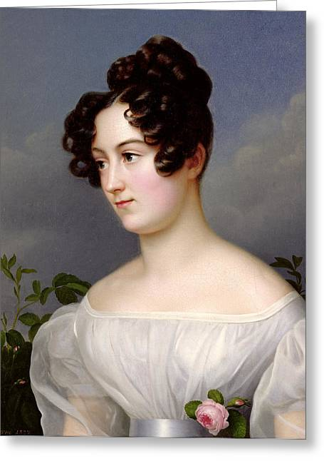 Pale Complexion Greeting Cards - Portrait of a Young Woman Greeting Card by  Franz Seraph Stirnbrand