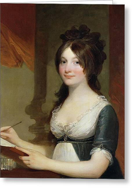 Georgian Paintings Greeting Cards - Portrait of a Young Woman Greeting Card by Gilbert Stuart
