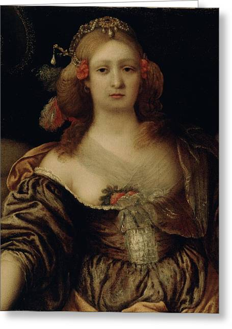Seventeenth Greeting Cards - Portrait of a Young Woman  Greeting Card by Girolamo Forabosco