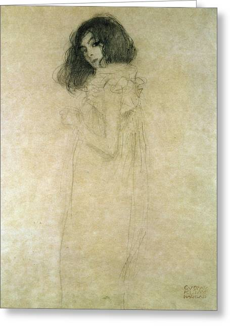 1918 Paintings Greeting Cards - Portrait of a young woman Greeting Card by Gustav Klimt