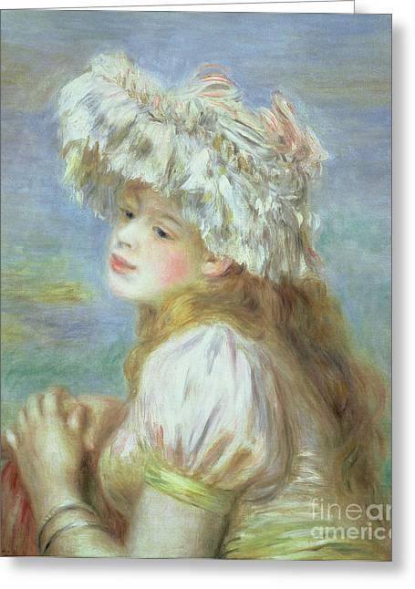 Woman In A Dress Greeting Cards - Portrait of a Young Woman in a Lace Hat Greeting Card by Pierre Auguste  Renoir