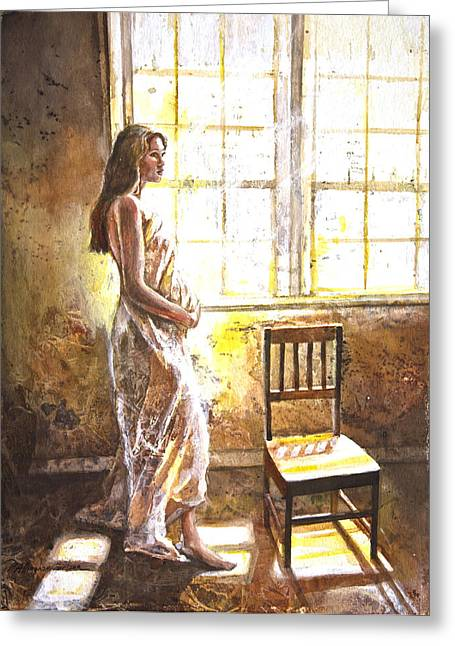 Portrait Of A Young Woman Greeting Card by Patricia Allingham Carlson