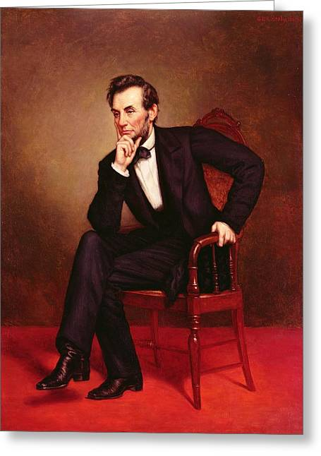 Abraham Paintings Greeting Cards - Portrait of Abraham Lincoln Greeting Card by George Peter Alexander Healy