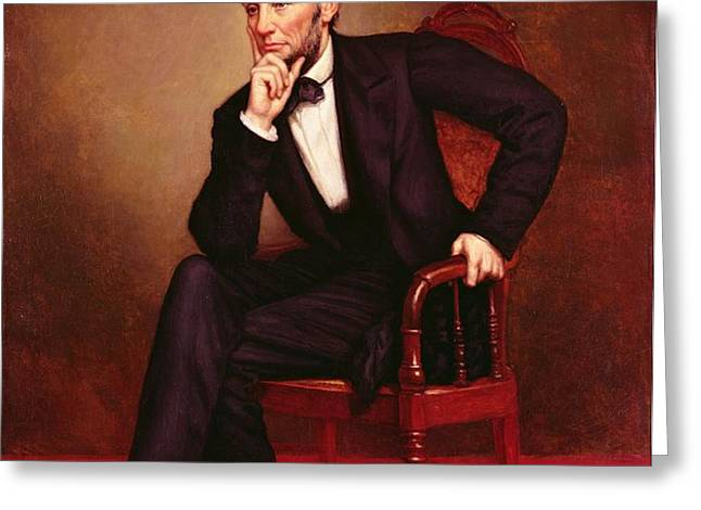 Portrait of Abraham Lincoln Greeting Card by George Peter Alexander Healy