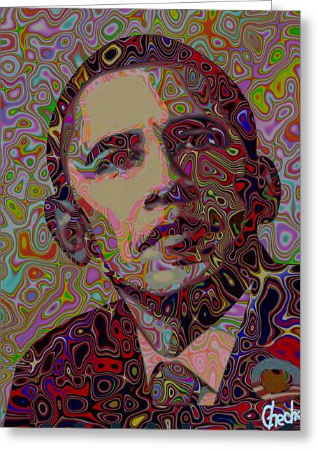 President Obama Greeting Cards - Portrait of an achiever Greeting Card by Harold Egbune