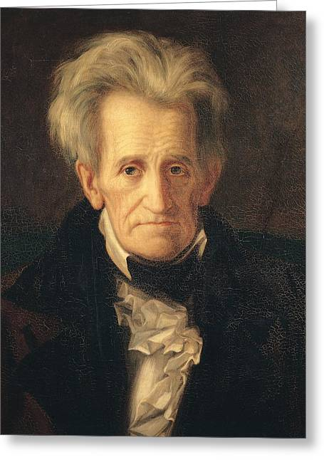 Portraits Of Men Greeting Cards - Portrait of Andrew Jackson Greeting Card by George Peter Alexander Healy