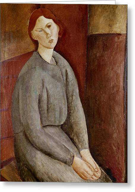 Clemente Paintings Greeting Cards - Portrait of Annie Bjarne Greeting Card by Amedeo Modigliani