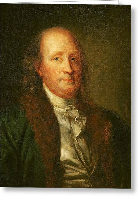 1706-90 Greeting Cards - Portrait of Benjamin Franklin Greeting Card by George Peter Alexander Healy