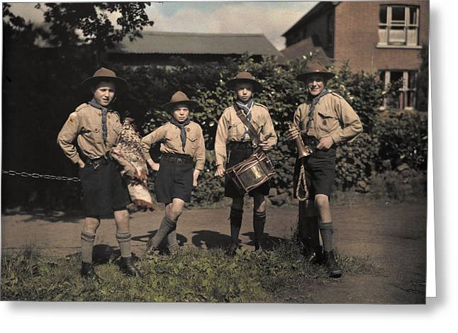 Knee-high Greeting Cards - Portrait Of Boy Scouts At Abinger Greeting Card by Clifton R. Adams