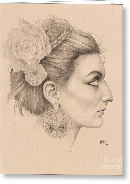 Graphite Art Drawings Greeting Cards - Portrait of Brandy Greeting Card by Paul Petro