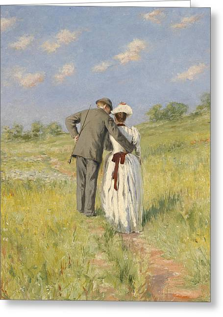 Lovers Embrace Greeting Cards - Portrait of Captain William Holmes and Mary Shafter McKitterick Greeting Card by American School