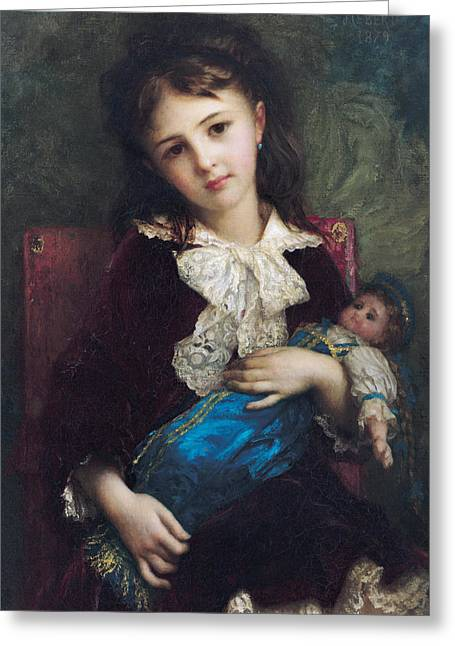 Toys Greeting Cards - Portrait of Catherine du Bouchage Greeting Card by Antoine Auguste Ernest Hebert
