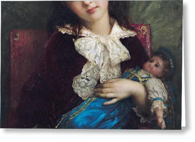 Portrait of Catherine du Bouchage Greeting Card by Antoine Auguste Ernest Hebert