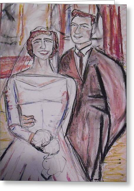 Wife Pastels Greeting Cards - Portrait of Claude and Terry Greeting Card by Hannah Curran