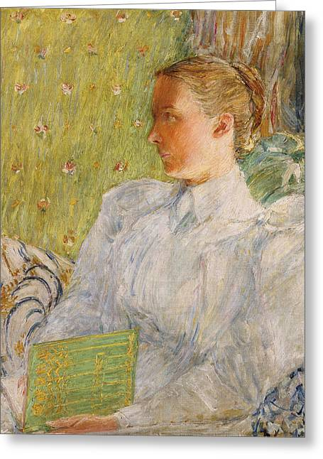 Sleeve Greeting Cards - Portrait of Edith Blaney Greeting Card by Childe Hassam