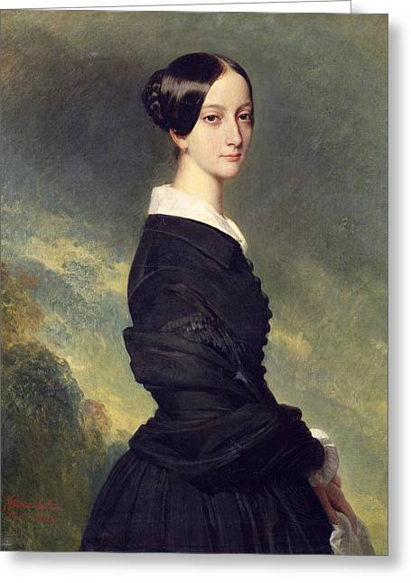 Black Widow Paintings Greeting Cards - Portrait of Francisca Caroline de Braganca Greeting Card by Franz Xaver Winterhalter