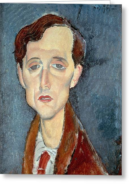 Hair Styles Greeting Cards - Portrait of Franz Hellens Greeting Card by Modigliani