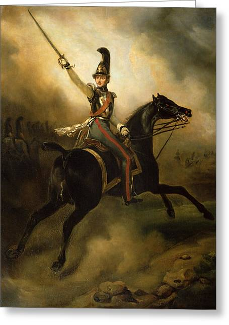 Full-length Portrait Paintings Greeting Cards - Portrait of Friedrich Heinrich Greeting Card by Emile Jean Horace Vernet