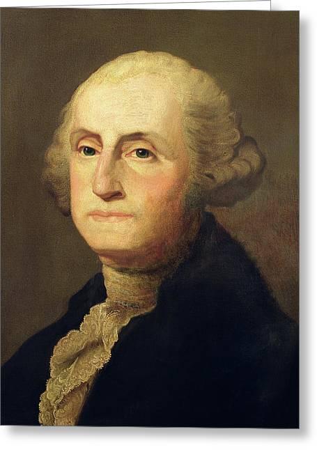 Ruffled Greeting Cards - Portrait of George Washington Greeting Card by Gilbert Stuart