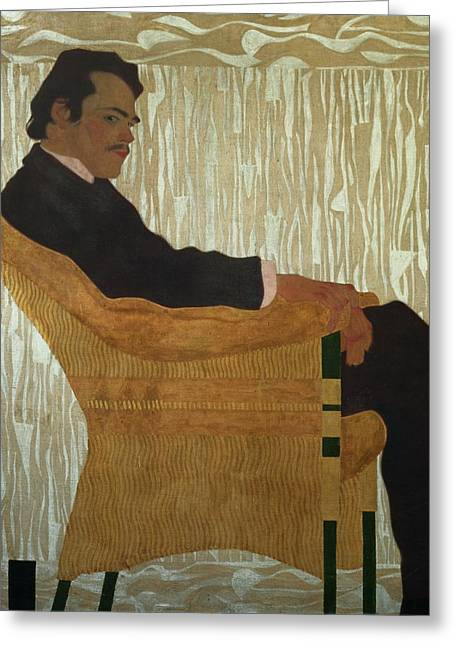 Armchair Greeting Cards - Portrait of Hans Massmann Greeting Card by Egon Schiele