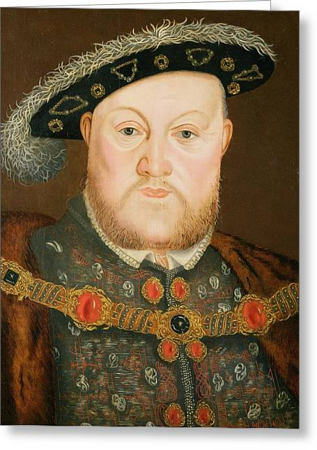 Henry Viii Greeting Cards - Portrait of Henry VIII Greeting Card by English School