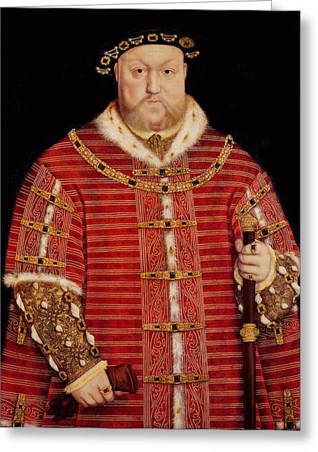 Divorce Greeting Cards - Portrait of Henry VIII Greeting Card by Hans Holbein the Younger