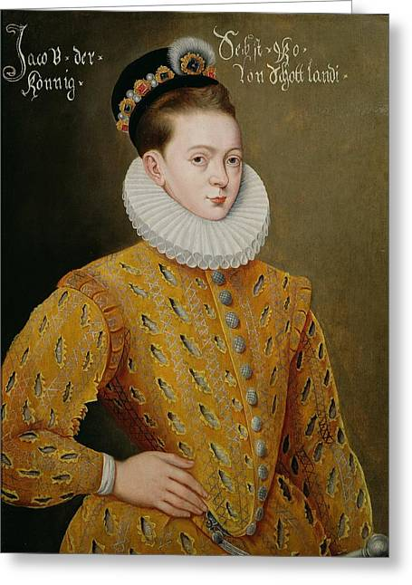 Royalty Greeting Cards - Portrait of James I of England and James VI of Scotland  Greeting Card by Adrian Vanson