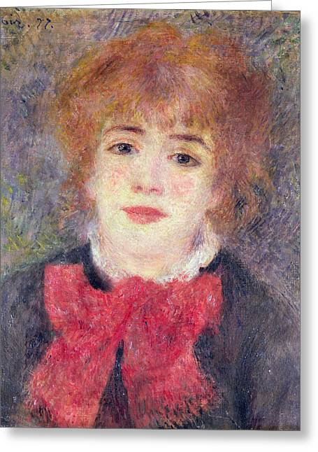 Portrait Of Woman Greeting Cards - Portrait of Jeanne Samary Greeting Card by Renoir