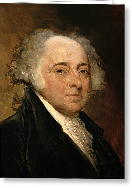 President Adams Greeting Cards - Portrait of John Adams Greeting Card by Gilbert Stuart